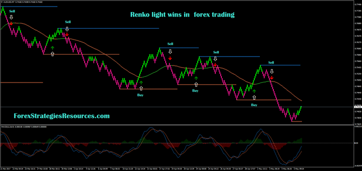 Renko light wins in  forex trading