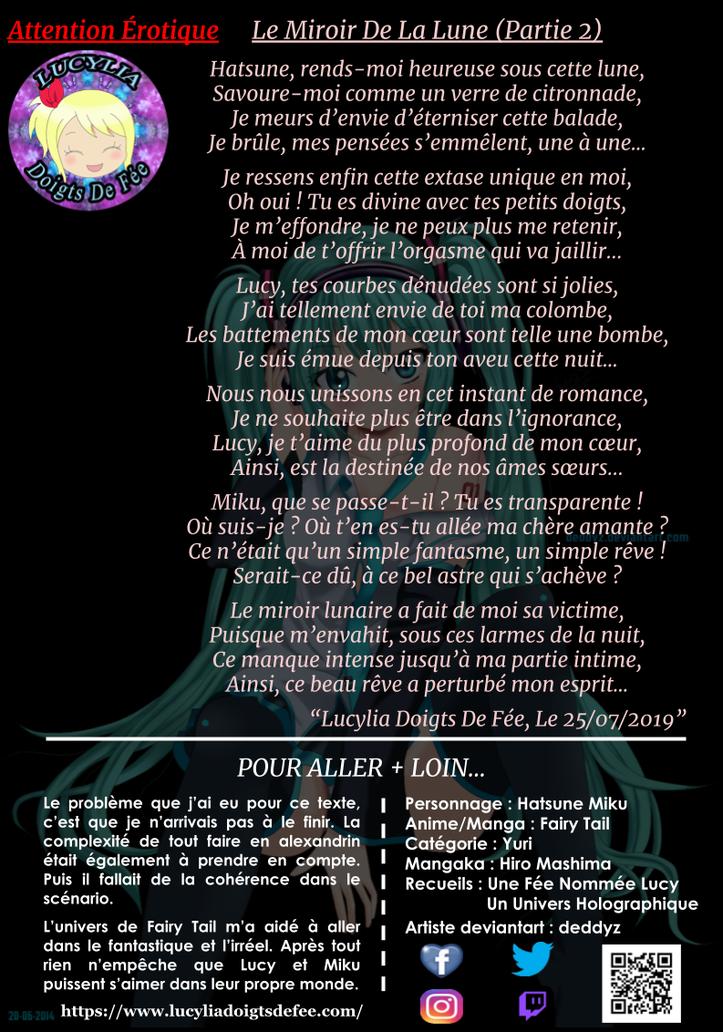 Poème le miroir de la lune partie 2 écrit par Lucylia Doigts De Fée, recueil Une Fée Nommée Lucy pour 1 poème pour 1 manga, personnages Lucy Heartfilia et Hatsune Miku, manga Fairy Tail