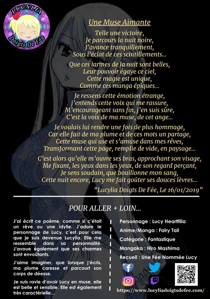 Poème Une muse aimante écrit par Lucylia Doigts De Fée, recueil Une Fée Nommée Lucy pour 1 poème pour 1 manga, personnage Lucy Heartfilia, manga Fairy Tail