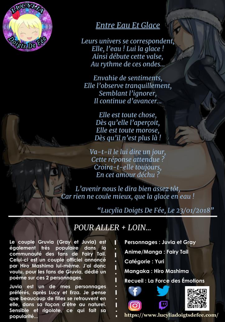 Poème entre eau et glace écrit par Lucylia Doigts De Fée, recueil la force des émotions, pour 1 poème pour 1 manga, manga Fairy Tail, juvia lockser et grey fullbuster