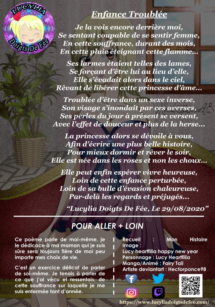 Poème Enfance Troublée écrit par Lucylia Doigts De Fée, recueil Spécial Mon Histoire, pour 1 poème pour 1 manga.