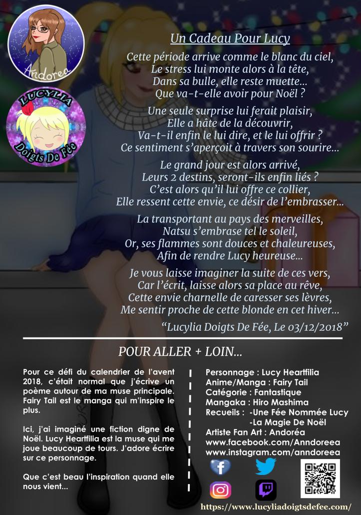 Poème Un cadeau pour Lucy écrit par Lucylia Doigts De Fée, recueil Une Fée Nommée Lucy et Calendrier de l'avent poétique 2018 pour 1 poème pour 1 manga, personnage Lucy Heartfilia, manga Fairy Tail, illustratrice Andorea