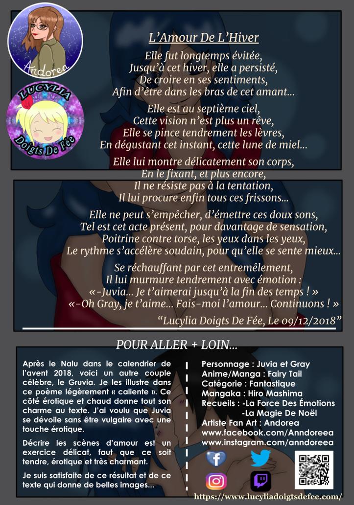 Poème l'amour de l'hiver écrit par Lucylia Doigts De Fée, recueil la force des émotions et le calendrier de l'avent poétique 2018, pour l'Univers de Lucylia, manga Fairy Tail,  Juvia Lockser et Grey Fullbuster,  dessin andorea
