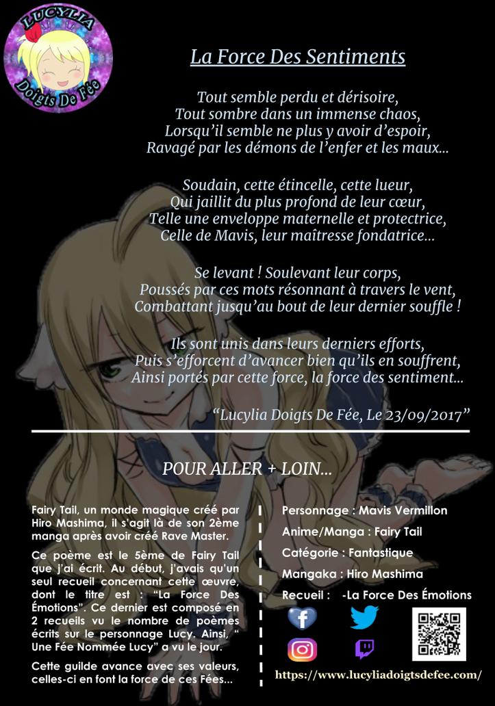 Poème la force des sentiments écrit par Lucylia Doigts De Fée, recueil la force des émotions, pour l'Univers de Lucylia, manga Fairy Tail, mavis