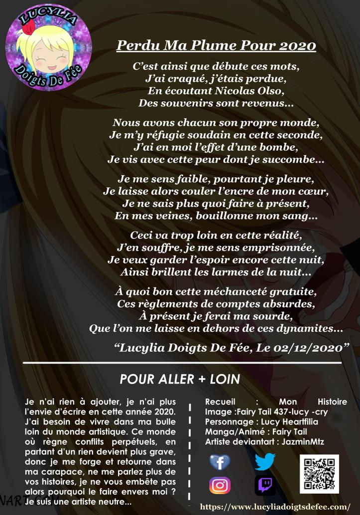 Poème perdu ma plume pour 2020 écrit par Lucylia Doigts De Fée, recueil mon histoire spécial Lucylia