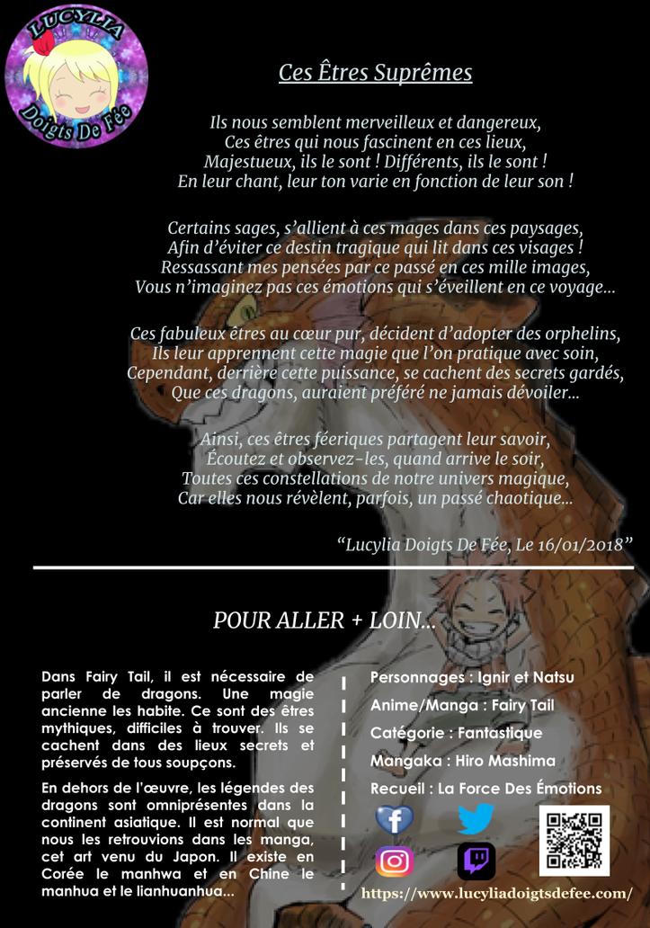 Poème de ces être suprêmes écrit par Lucylia Doigts De Fée, recueil la force des émotions, pour l'Univers de Lucylia, manga Fairy Tail, ignir et natsu