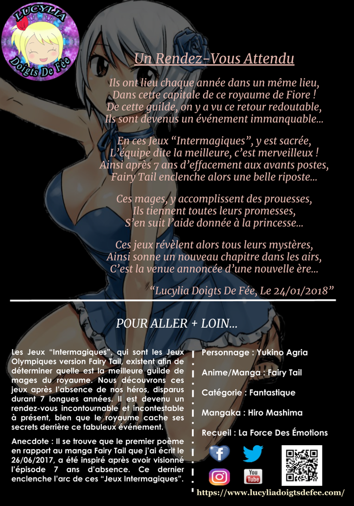 Poème un rendez-vous attendu écrit par Lucylia Doigts De Fée, recueil la force des émotions, pour 1 poème pour 1 manga, manga Fairy Tail