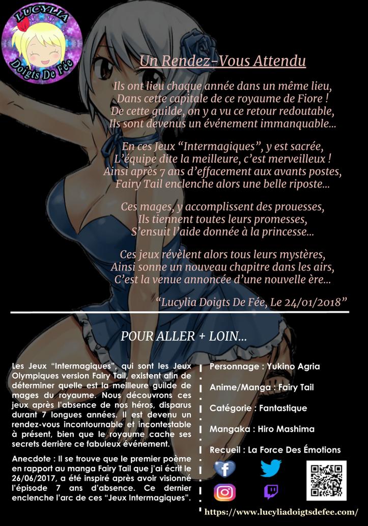 Poème un rendez-vous attendu écrit par Lucylia Doigts De Fée, recueil la force des émotions, pour l'Univers de Lucylia, manga Fairy Tail, Yukino