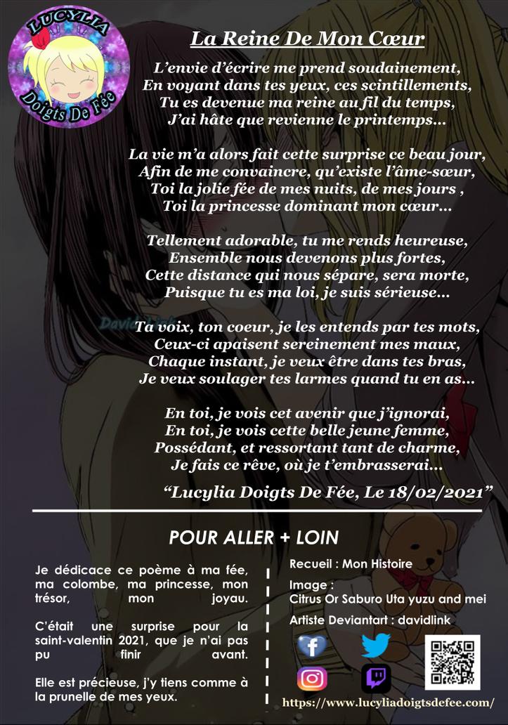 Poème de la reine de mon cœur écrit par Lucylia Doigts De Fée, recueil spécial lucylia, mon histoire