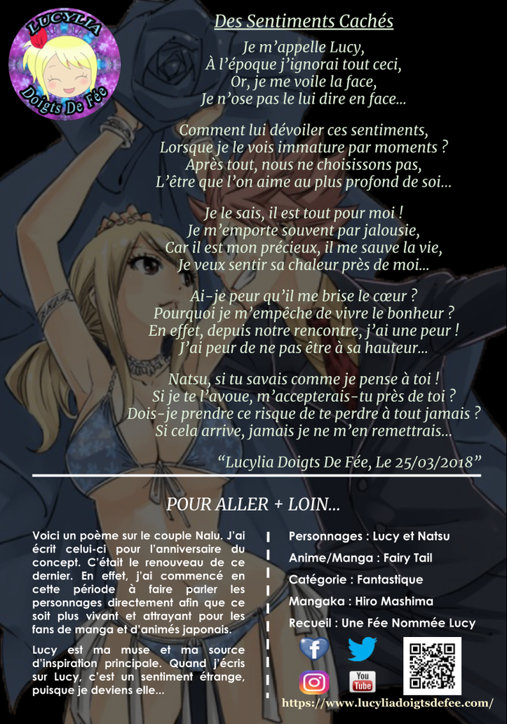 Poème Des Sentiments Cachés écrit par Lucylia Doigts De Fée, recueil Une Fée Nommée Lucy pour 1 poème pour 1 manga, personnage Lucy Heartfilia et Natsu Dragneel, manga Fairy Tail