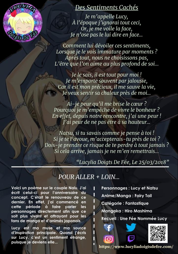 Poème Des Sentiments Cachés écrit par Lucylia Doigts De Fée, recueil Une Fée Nommée Lucy  pour L'univers de Lucylia, personnage Lucy Heartfilia et Natsu Dragneel, manga Fairy Tail