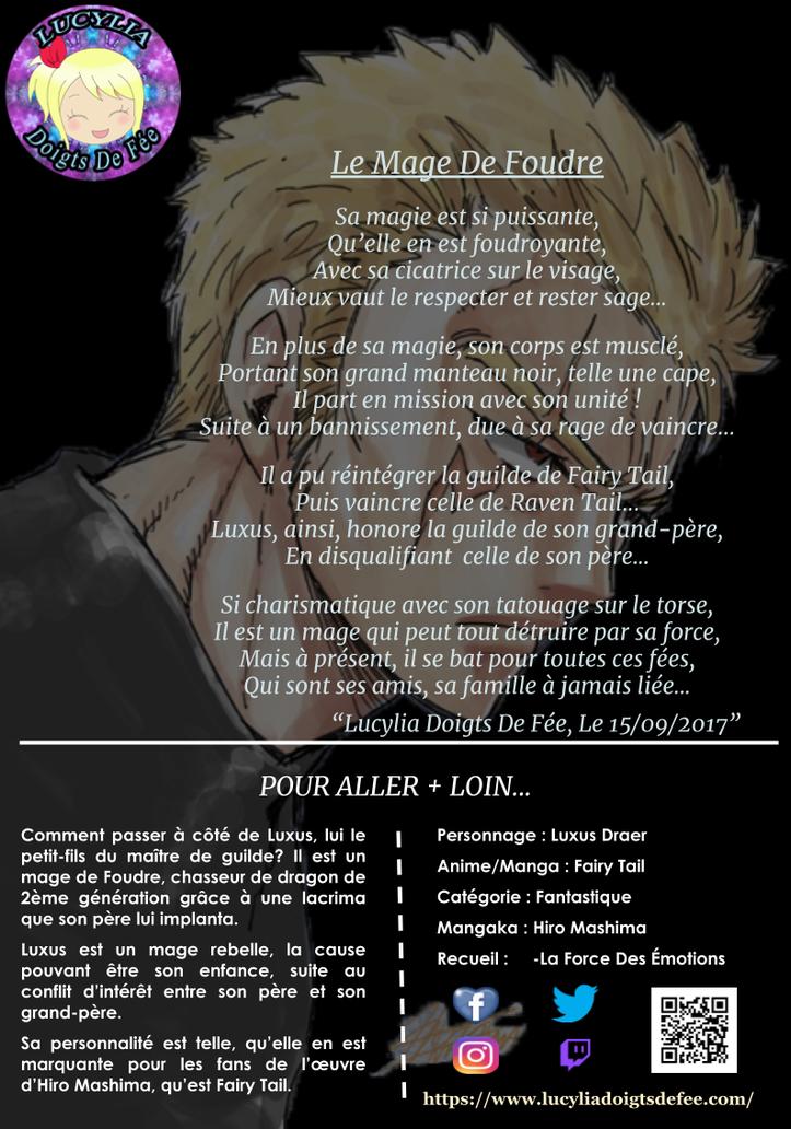 Poème le mage de foudre écrit par Lucylia Doigts De Fée, recueil la force des émotions, pour l'Univers de Lucylia, manga Fairy Tail, luxus