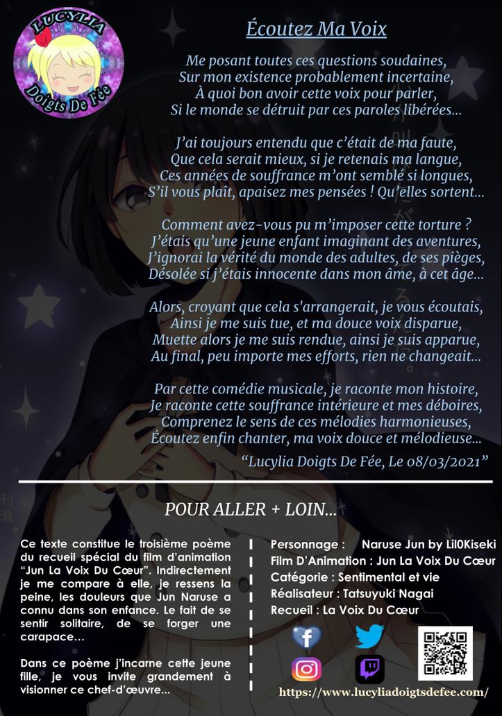 Poème écoutez ma voix écrit par Lucylia Doigts De Fée, recueil la la voix du cœur, pour 1 poème pour 1 manga, film d'animation jun la voix du cœur