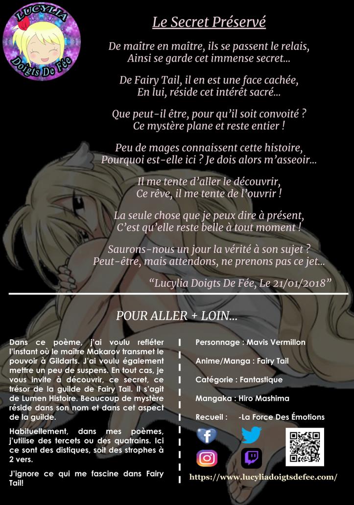 Poème le secret préservé écrit par Lucylia Doigts De Fée, recueil la force des émotions, pour 1 poème pour 1 manga, manga Fairy Tail