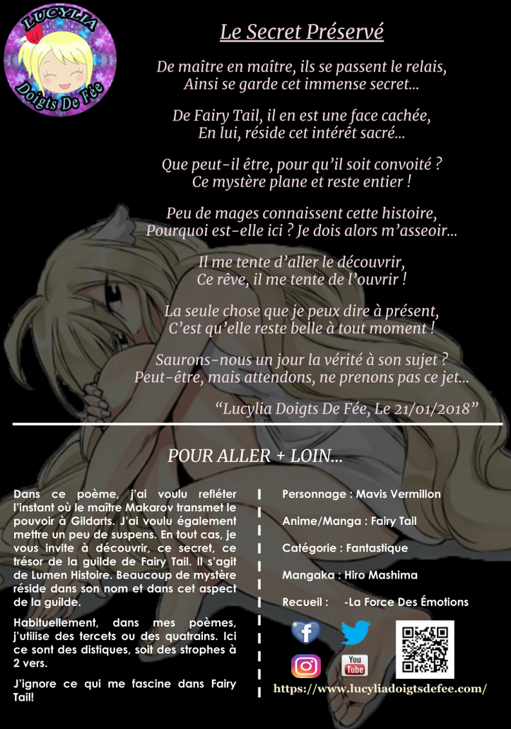 Poème le secret préservé écrit par Lucylia Doigts De Fée, recueil la force des émotions, pour l'Univers de Lucylia, manga Fairy Tail, mavis vermillon