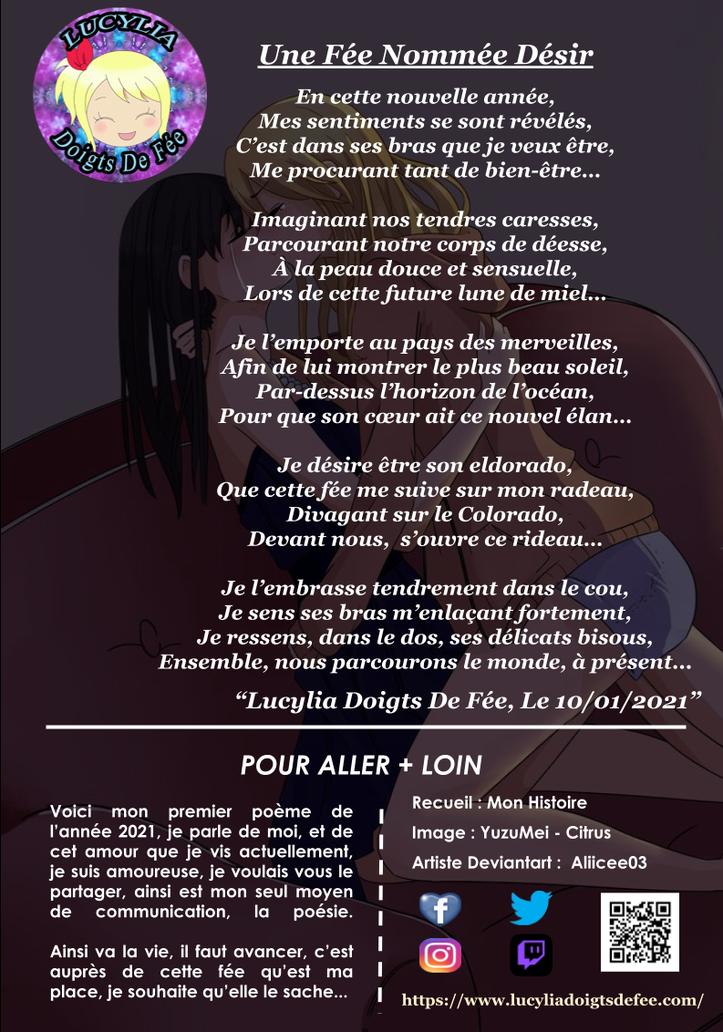 Poème une fée nommée désir écrit par Lucylia Doigts De Fée, recueil mon histoire, Spécial Lucylia