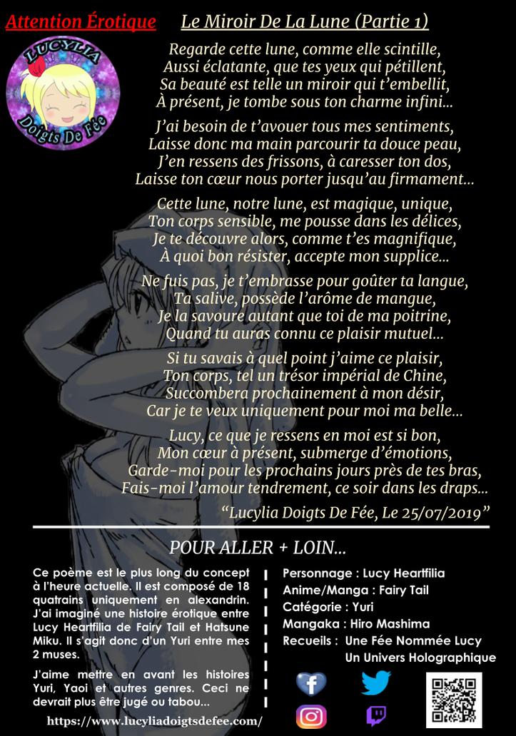 Poème Le miroir de la lune partie 1 écrit par Lucylia Doigts De Fée, recueil Une Fée Nommée Lucy, pour L'Univers de Lucylia, personnage Lucy Heartfilia et hatsune miku, manga Fairy Tail