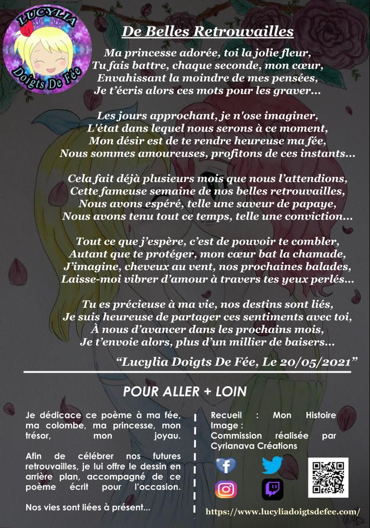 Poème De Belles Retrouvailles écrit par Lucylia Doigts De Fée, recueil Mon Histoire pour L'univers de Lucylia, arrière plan by Cyrianava