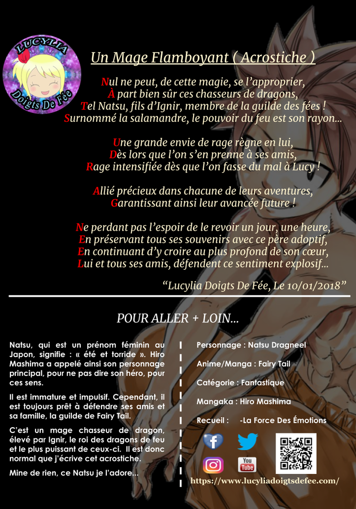 Poème un mage flamboyant écrit par Lucylia Doigts De Fée, recueil la force des émotions, pour 1 poème pour 1 manga, manga Fairy Tail, natsu dragneel