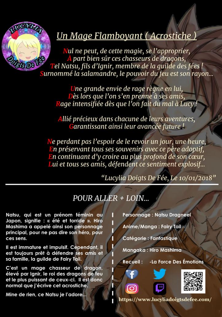 Poème un mage flamboyant écrit par Lucylia Doigts De Fée, recueil la force des émotions, pour l'Univers de Lucylia, manga Fairy Tail, natsu dragneel