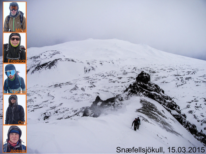 The top (Snæfellsjökull)  and we. // Der Gipfel (Snæfellsjökull) und wir.