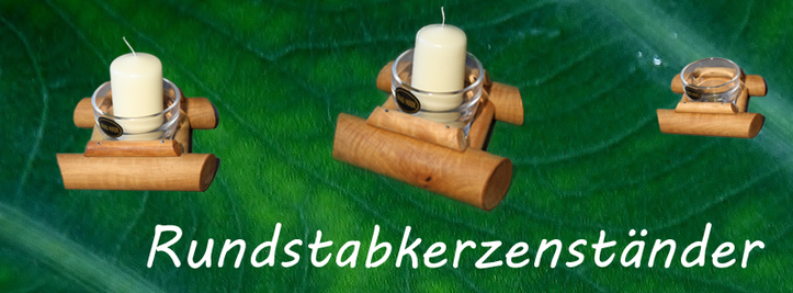 Rundstabkerzenständer aus Nussbaumholz, Birnbaumholz, Apfelbaumholz, Schweizer Design Kristallglas | blaser-design-bern