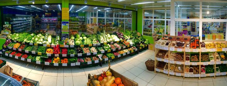 Gemüse und Obst im gekühlten Bereich