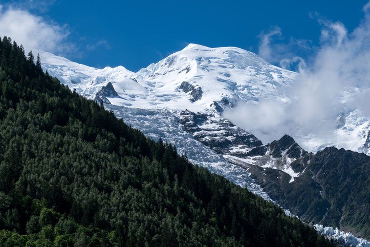 The Mont Blanc as seen from Chamonix with one of its prominent glaciers