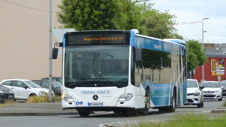 Mercedes Citaro 2 N numéro 83 du réseau MAT lors de l'inauguration du nouveau nom du service de transport en commun de Saint-Malo Agglomération, le premier juin 2018.