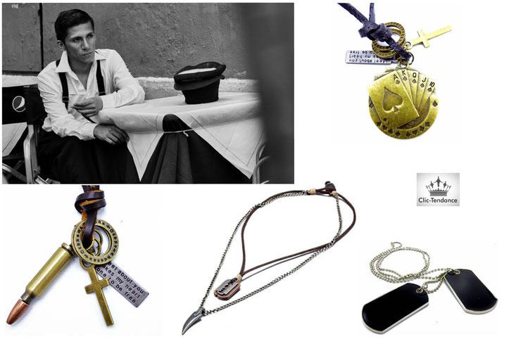 chaine et plaque militaire mecs