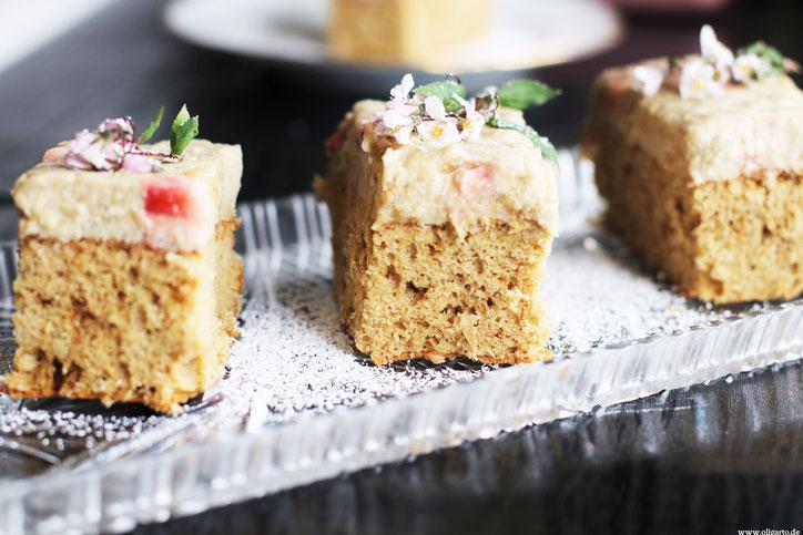 Rhabarberkuchen Backen mit Olivenöl Rezepte Oligarto