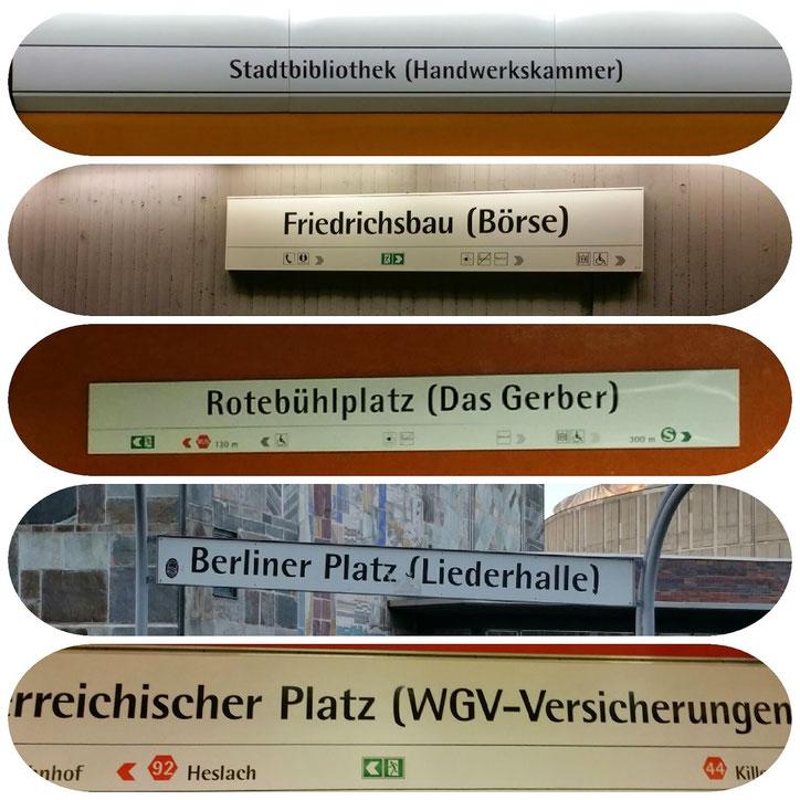"""Название станции около штутгартской Биржи (вторая на фото) на последние 10 лет поменяло название 5 раз. В 2016 годуона  приобрела новое имя """"Börsenplatz (L-Bank)"""""""