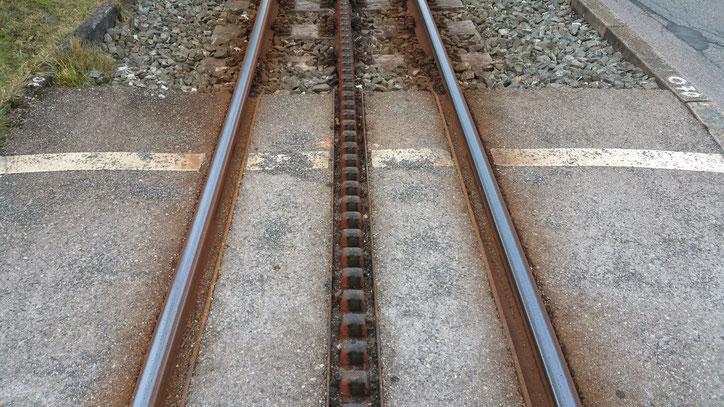 Те самые зубья, за которые цепляется поезд на шестерёнке. Система очень похожа на трамвай в Сан-Франциско, которая заработала там примерно в это же время, — 1873 год. Разница одна: в США трамвай отдан на откуп туристам, а в здесь это обычный транспорт.