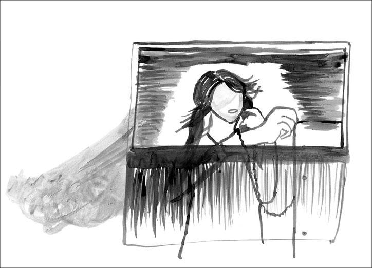 Marias Theater, 2011, Tusche auf Papier, 42 x 29,7 cm