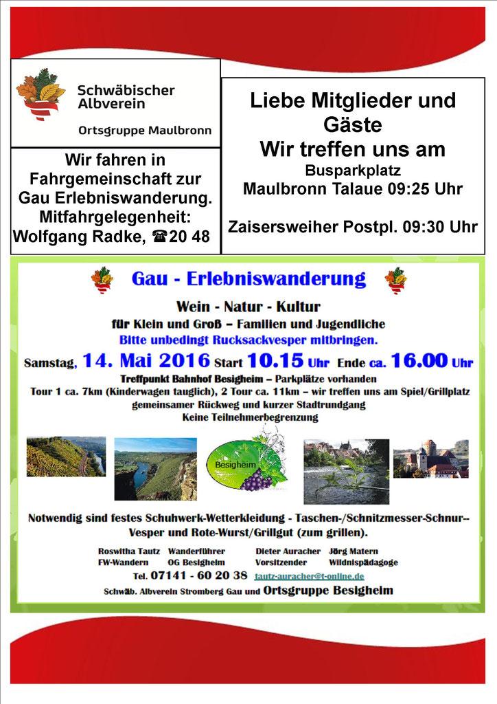 Schwäb. Albverein Stromberg Gau und Ortsgruppe Besigheim, Tour 1 ca. 7km (Kinderwagen tauglich), 2 Tour ca. 11km – wir treffen uns am Spiel/Grillpgemeinsamer Rückweg und kurzer Stadtrundgang