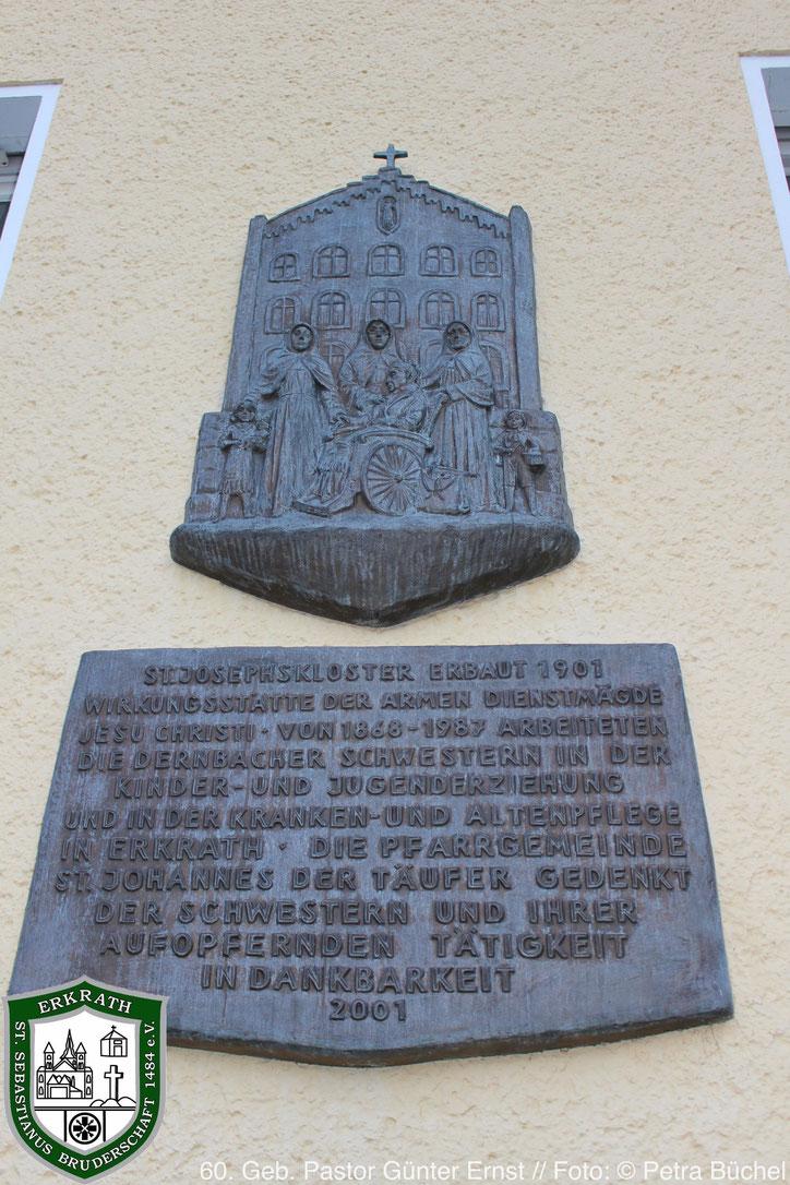 Gedenktafel an dem ehemaligen St. Josephskloster. Bild: Petra Büchel