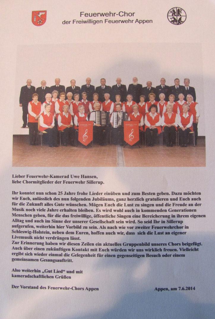 Befreundeter Chor aus Appen gratuliert zum Jubiläum