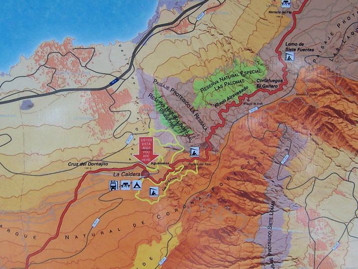 Karte zur Lage des Grillplatzes im Norden von Teneriffa.