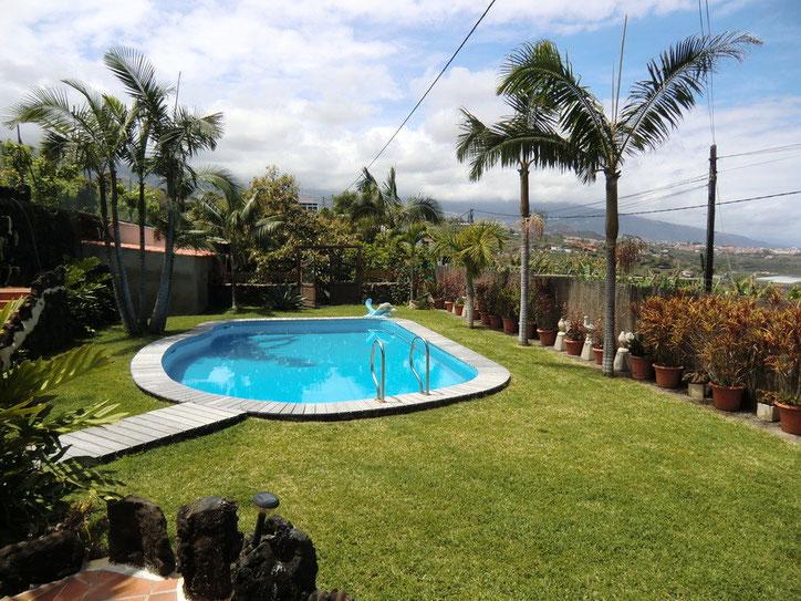 Der Pool ist von einer schönen Rasenfläche eingefasst