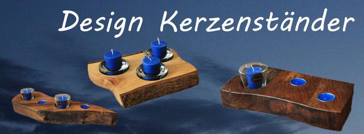 Holzdesignkerzenständer | stimmungsvolles Licht | Teelicht Kerzen Ständer | Kerzenhalter | Glaseinsatz | www.blaser-design-bern.ch