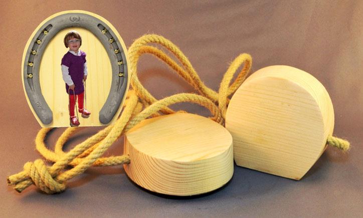 Anwendung wie Stelzenbecher, Seil ist einstellbar.