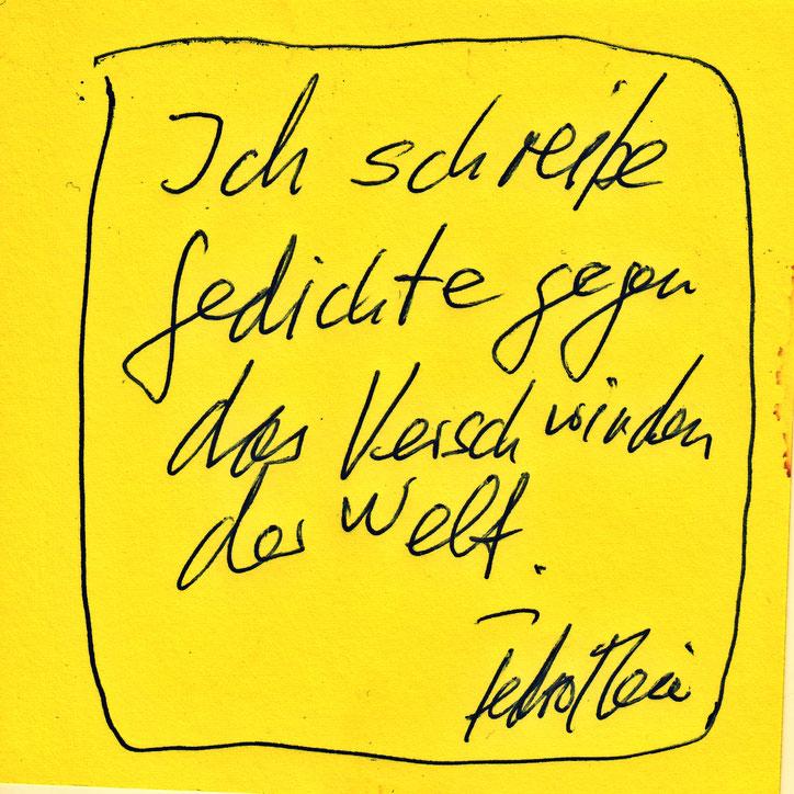 Pedro Meier Schriftsteller Zitat – »Ich schreibe Gedichte gegen das Verschwinden der Welt« – 2019 © Pedro Meier Dichter, Lyriker, Maler. Amrain Verlag – Niederbipp, Kunsthalle Olten, Bangkok BACC. SIKART Zürich Visarte, ProLitteris – www.Autorenwelt.de