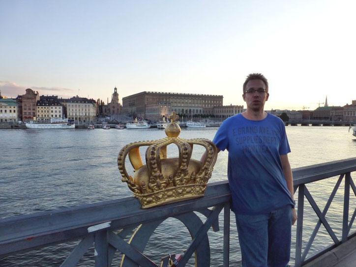Skeppsholmen Brücke mit Blick auf das Stadtschloss und die Altstadt