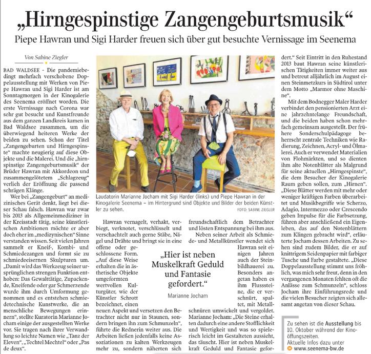 Artikel und Foto von Sabine Ziegler aus der Schwäbischen Zeitung  Bad Waldsee vom 20.7.2021