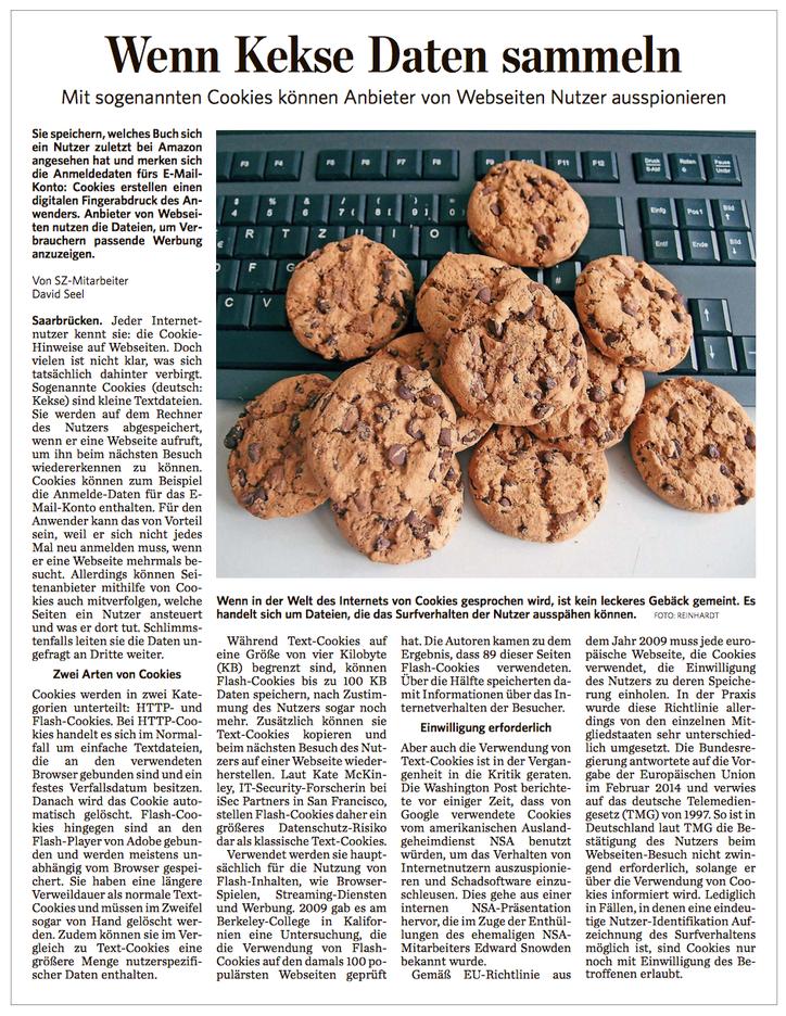 saarclean, Pressebericht Cookies, Wenn Kekse Daten sammeln