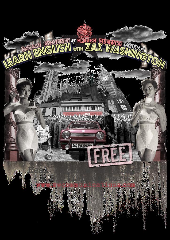 Learn English with ZakWashington publicity flyer