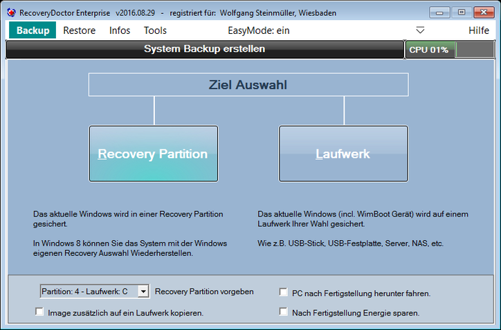 Backup Auswahl