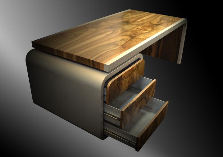 Bild:Schreibtisch, Tip-On, Nußbaumholz