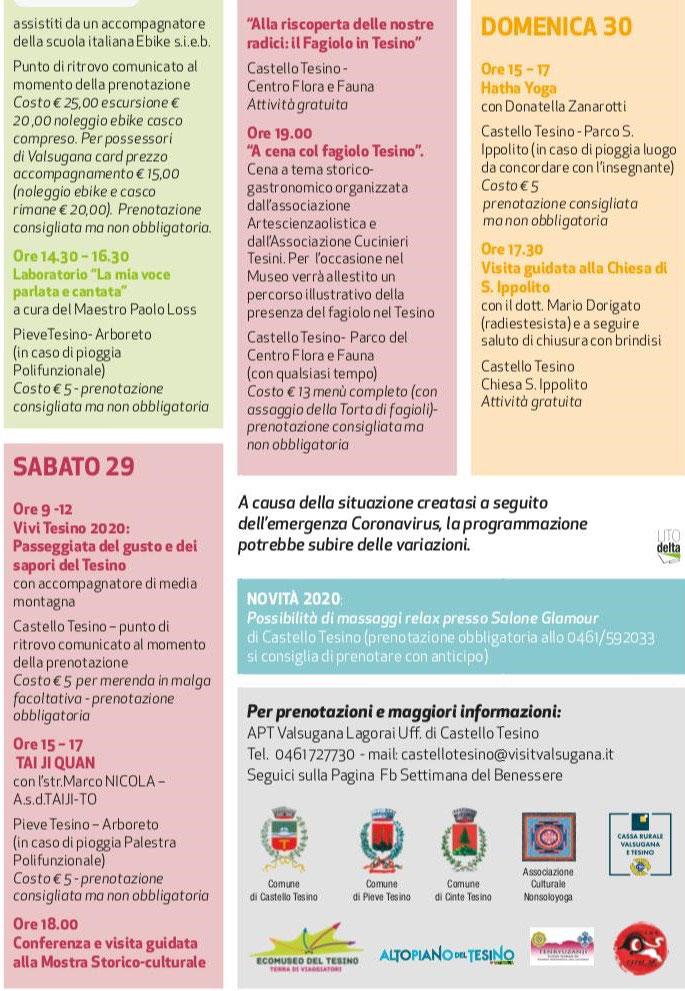 I 10 giorni del Benessere 2020, provincia di Trento, da Venerdì 28 Agosto a Domenica 30 Agosto