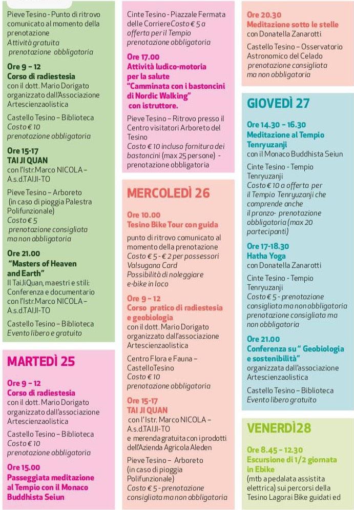 I 10 giorni del Benessere 2020, provincia di Trento, dalle 09 di Lunedì 24 Agosto a tutto il giovedì 27 Agosto